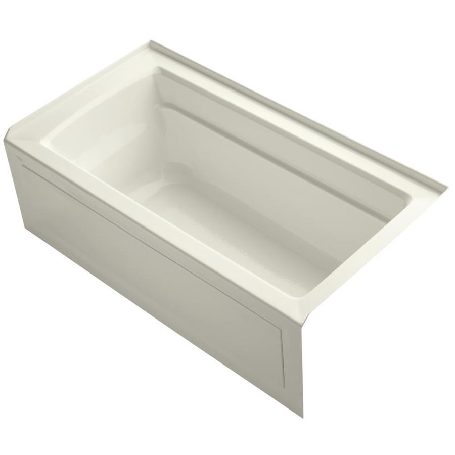 Shop kohler archer 60 in biscuit acrylic alcove bathtub for Deep alcove bathtubs