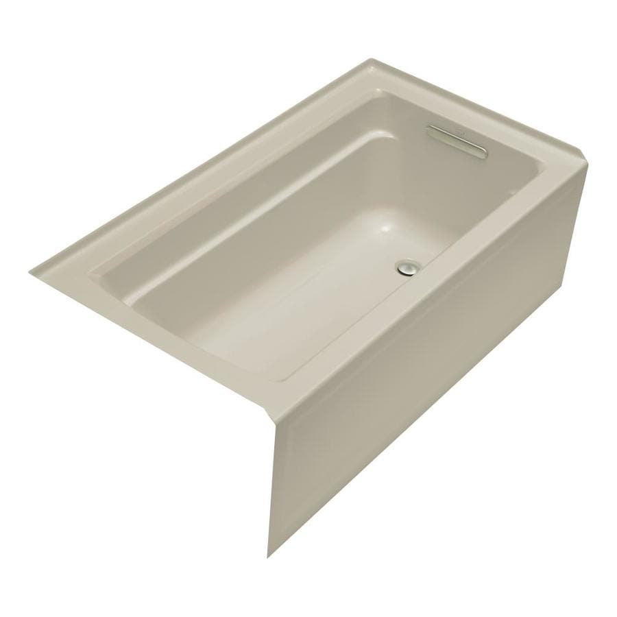 KOHLER Archer Sandbar Acrylic Rectangular Alcove Bathtub with Right-Hand Drain (Common: 32-in x 60-in; Actual: 19-in x 32-in x 60-in)