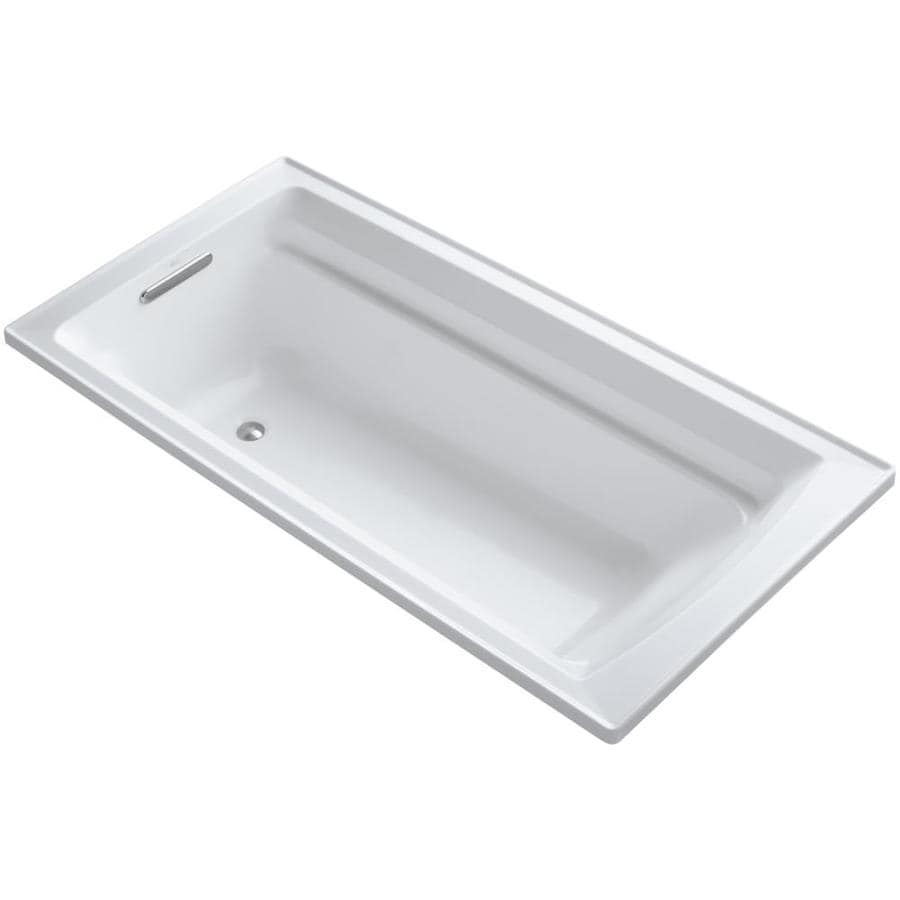KOHLER Archer White Acrylic Rectangular Drop-in Bathtub with Reversible Drain (Common: 36-in x 72-in; Actual: 19-in x 36-in x 72-in)