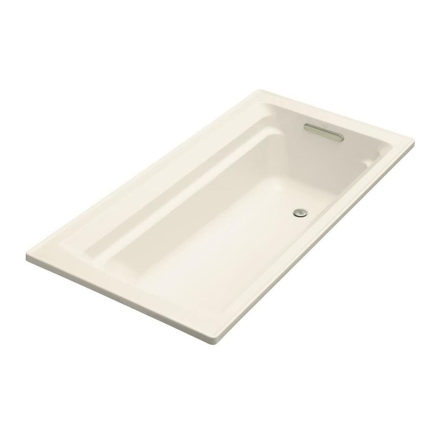 KOHLER Archer Almond Acrylic Rectangular Drop-in Bathtub with Reversible Drain (Common: 36-in x 72-in; Actual: 19.0000-in x 36.0000-in x 72.0000-in)