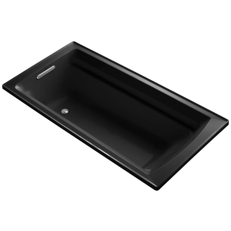 KOHLER Archer Black Black Acrylic Rectangular Drop-in Bathtub with Reversible Drain (Common: 36-in x 72-in; Actual: 19-in x 36-in x 72-in)