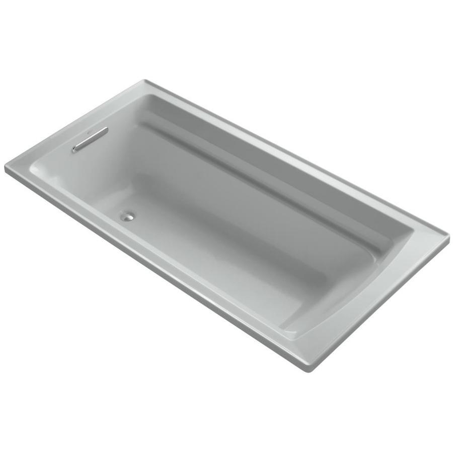 KOHLER Archer Ice Grey Acrylic Rectangular Drop-in Bathtub with Reversible Drain (Common: 36-in x 72-in; Actual: 19.0000-in x 36.0000-in x 72.0000-in)