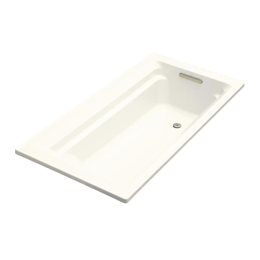 KOHLER Archer Biscuit Acrylic Rectangular Drop-in Bathtub with Reversible Drain (Common: 36-in x 72-in; Actual: 19-in x 36-in x 72-in)