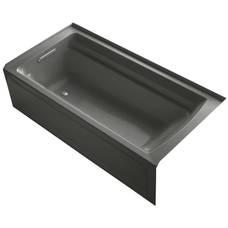 KOHLER Archer 72-in Thunder Grey Acrylic Drop-In Bathtub with Left-Hand Drain
