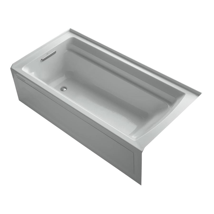 KOHLER Archer 72-in Ice Grey Acrylic Alcove Bathtub with Left-Hand Drain