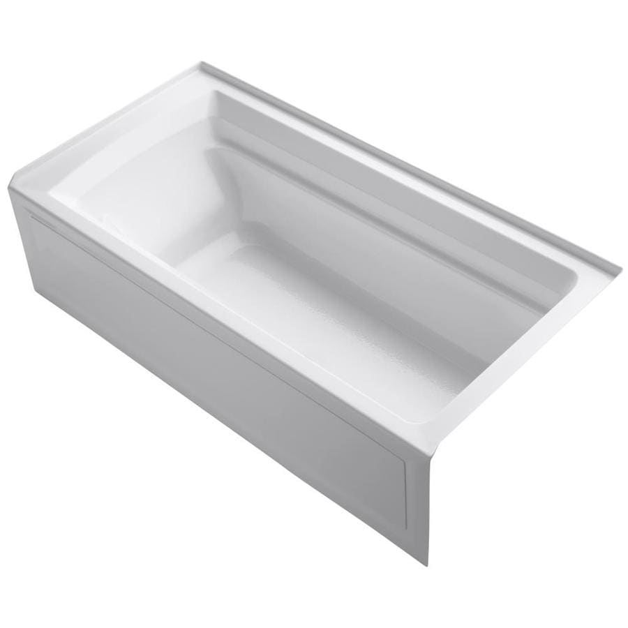Shop kohler archer 72 in white acrylic alcove bathtub with for Deep alcove bathtubs