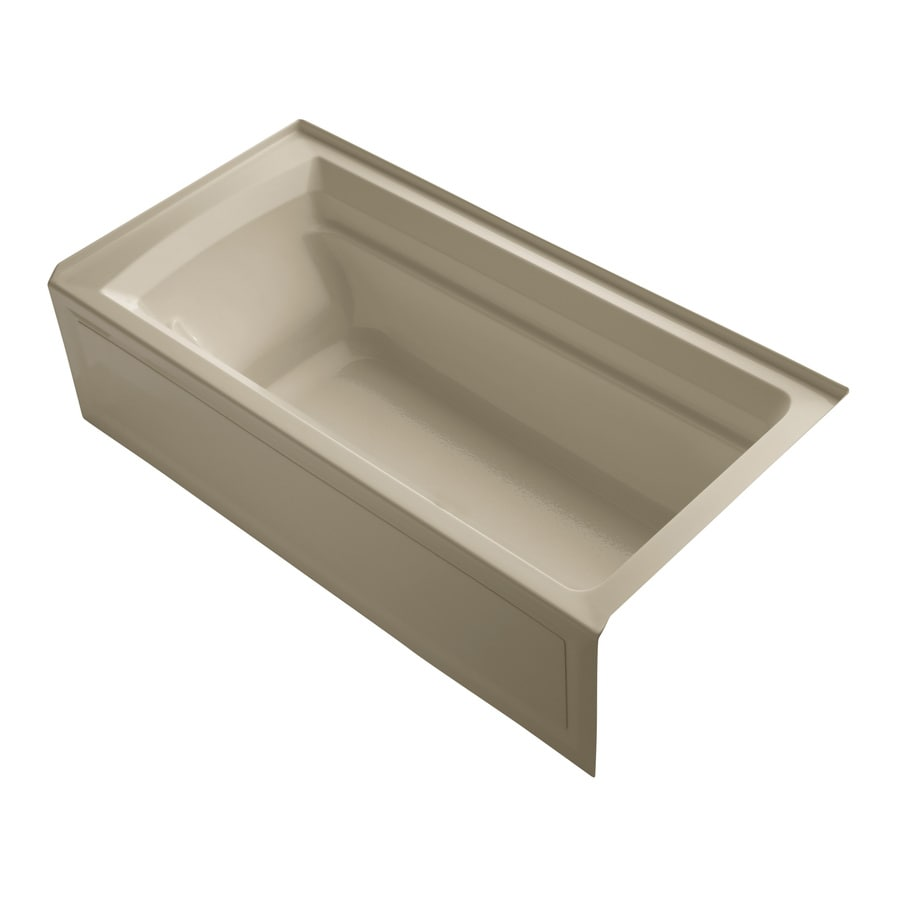 KOHLER Archer 72-in Mexican Sand Acrylic Alcove Bathtub with Right-Hand Drain