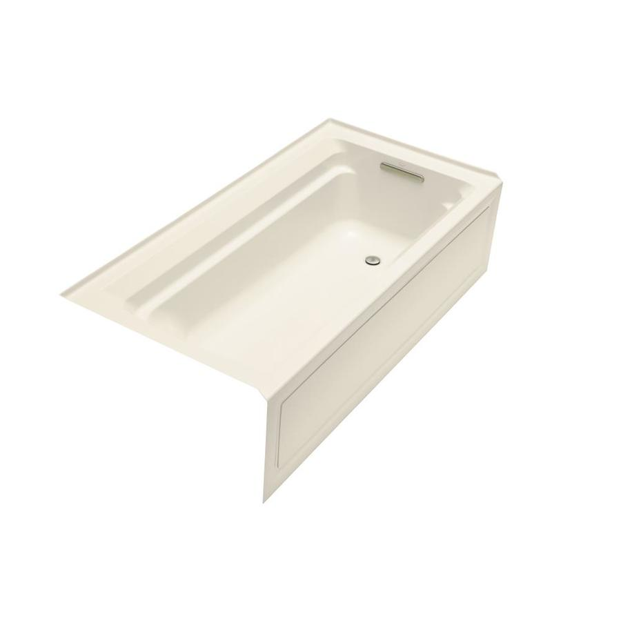 KOHLER Archer 72-in Almond Acrylic Alcove Bathtub with Right-Hand Drain