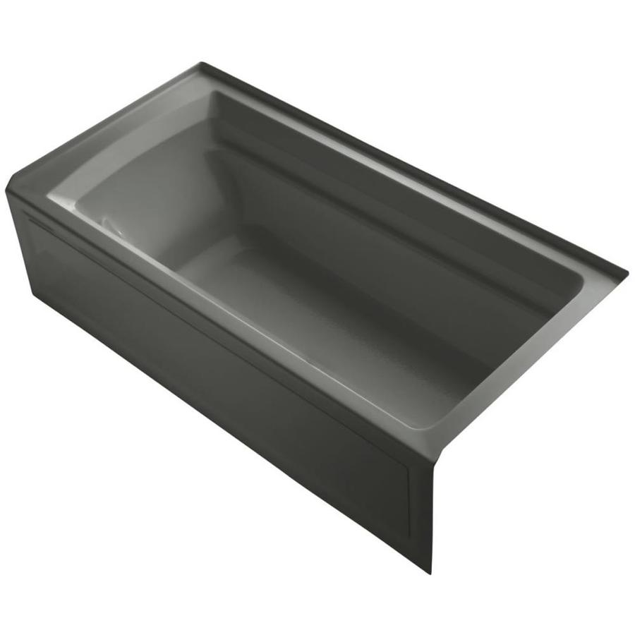 KOHLER Archer Thunder Grey Acrylic Rectangular Drop-in Bathtub with Right-Hand Drain (Common: 36-in x 72-in; Actual: 19.0000-in x 36.0000-in x 72.0000-in)