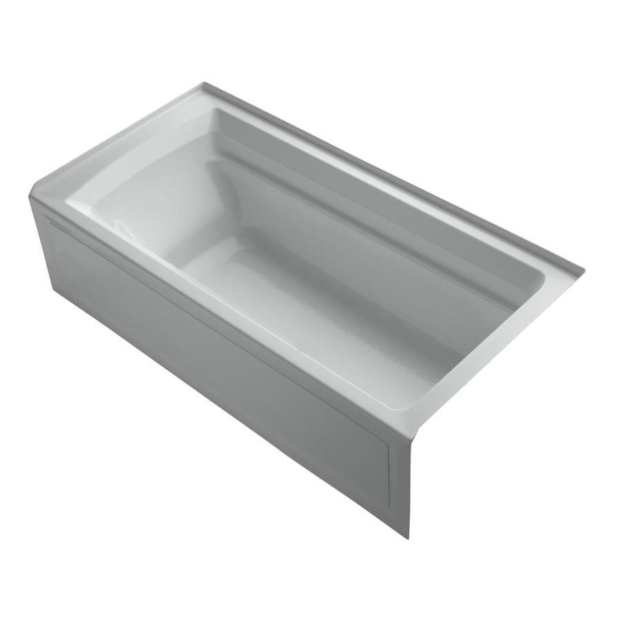 KOHLER Archer Ice Grey Acrylic Rectangular Alcove Bathtub with Right-Hand Drain (Common: 36-in x 72-in; Actual: 19-in x 36-in x 72-in)