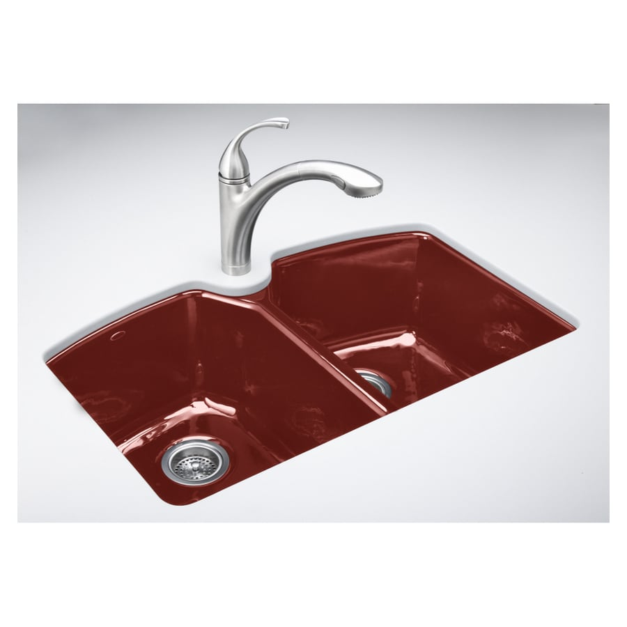 KOHLER Roussillon Red 3 Hole Double Basin Cast Iron Undermount Kitchen Sink