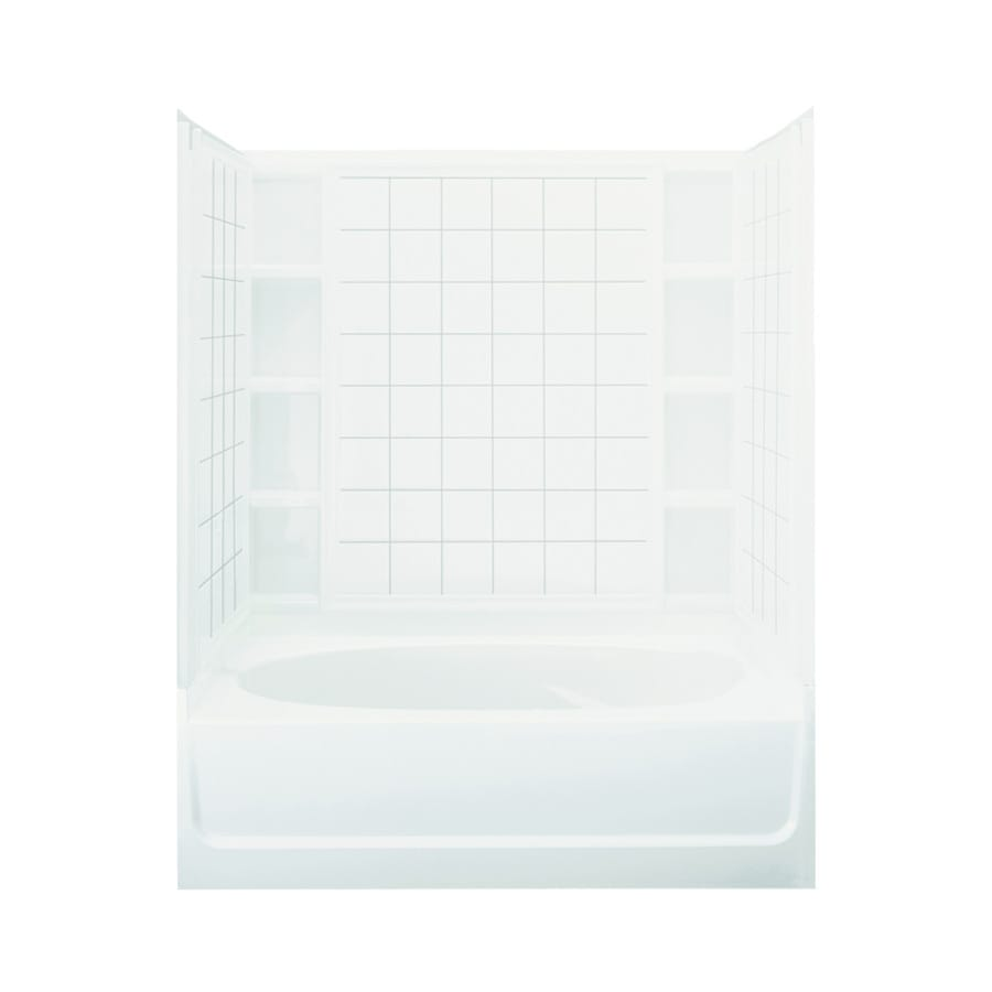 Sterling Ensemble 60.25-in White Vikrell Alcove Bathtub with Left-Hand Drain