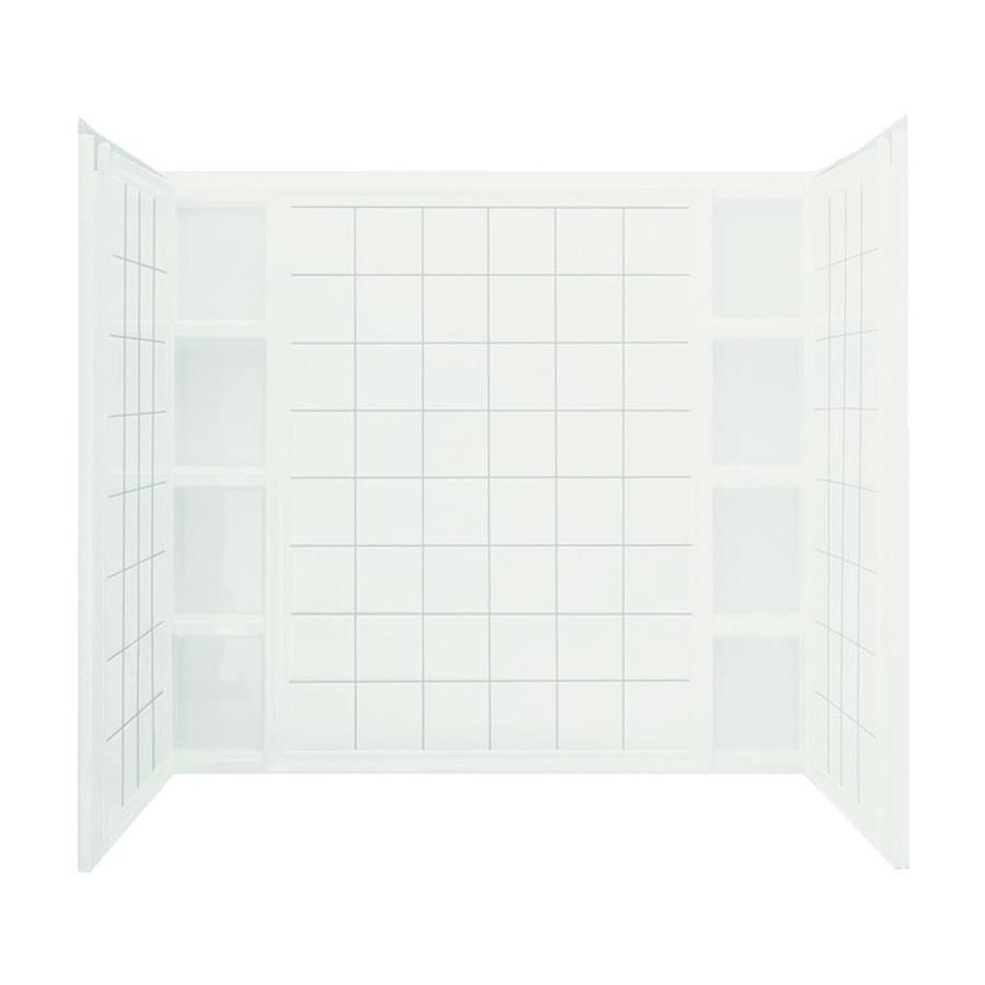 Sterling Ensemble White Vikrell Bathtub Wall Surround (Common: 60-in x 44-in; Actual: 54.25-in x 60-in x 43.5-in)