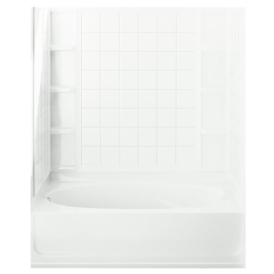 Sterling Ensemble AFD White 4-Piece Alcove Shower Kit (Common: 42-in x 60-in; Actual: 42-in x 60-in)