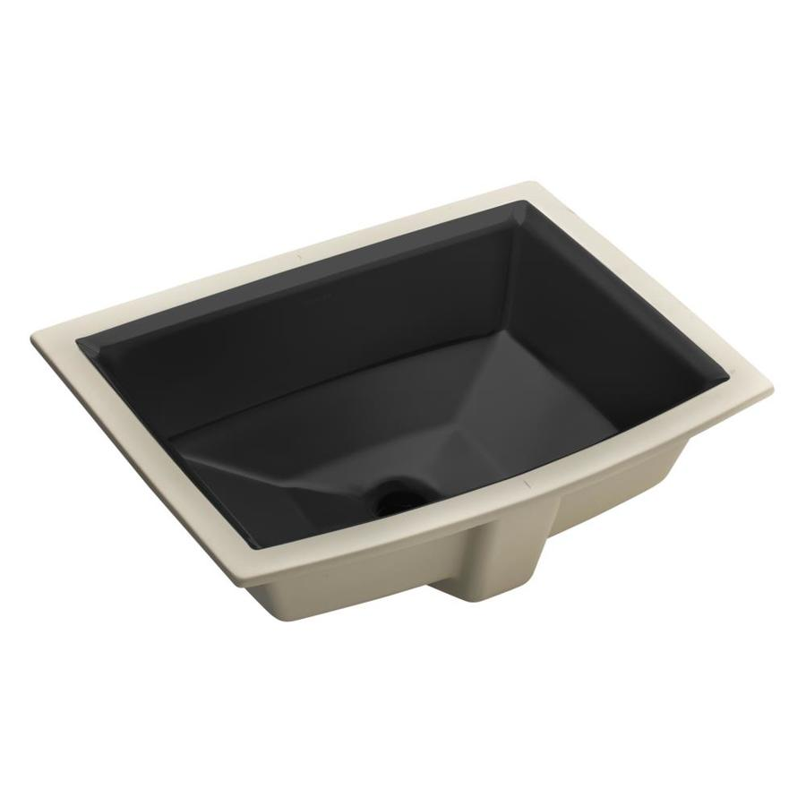 KOHLER Archer Black Undermount Rectangular Bathroom Sink with Overflow