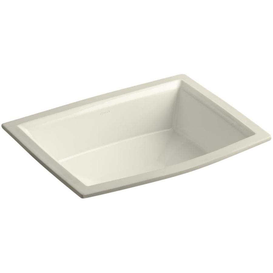 KOHLER Archer Almond Undermount Rectangular Bathroom Sink with Overflow