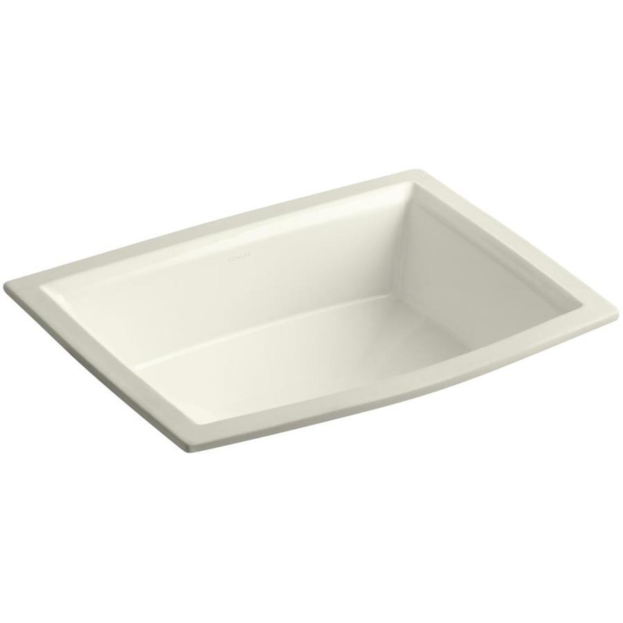 KOHLER Archer Biscuit Undermount Rectangular Bathroom Sink with Overflow