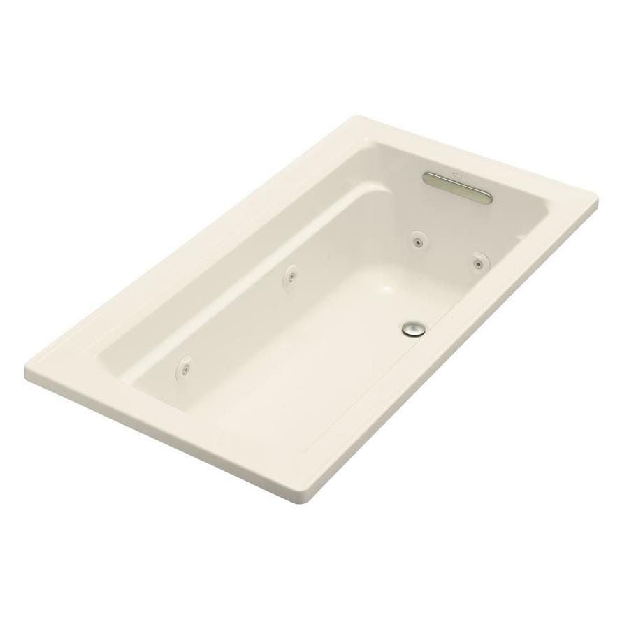 KOHLER Archer Almond Acrylic Rectangular Whirlpool Tub (Common: 32-in x 60-in; Actual: 19.0000-in x 32.0000-in x 60.0000-in)