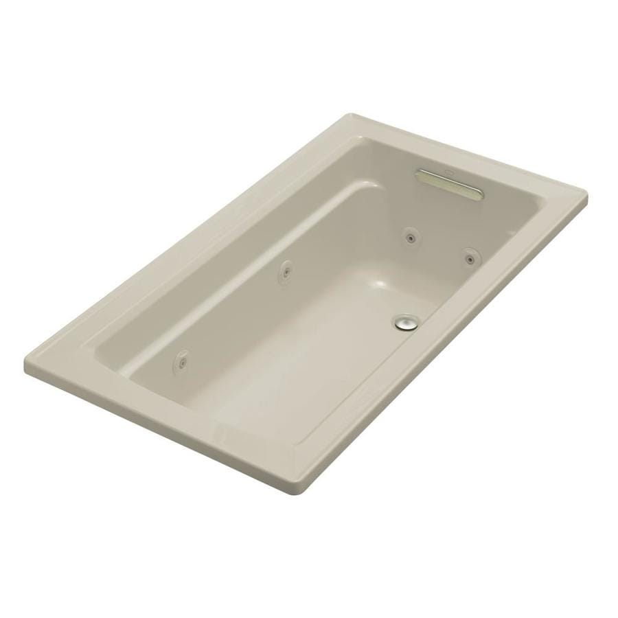 KOHLER Archer Sandbar Acrylic Rectangular Whirlpool Tub (Common: 32-in x 60-in; Actual: 19-in x 32-in x 60-in)