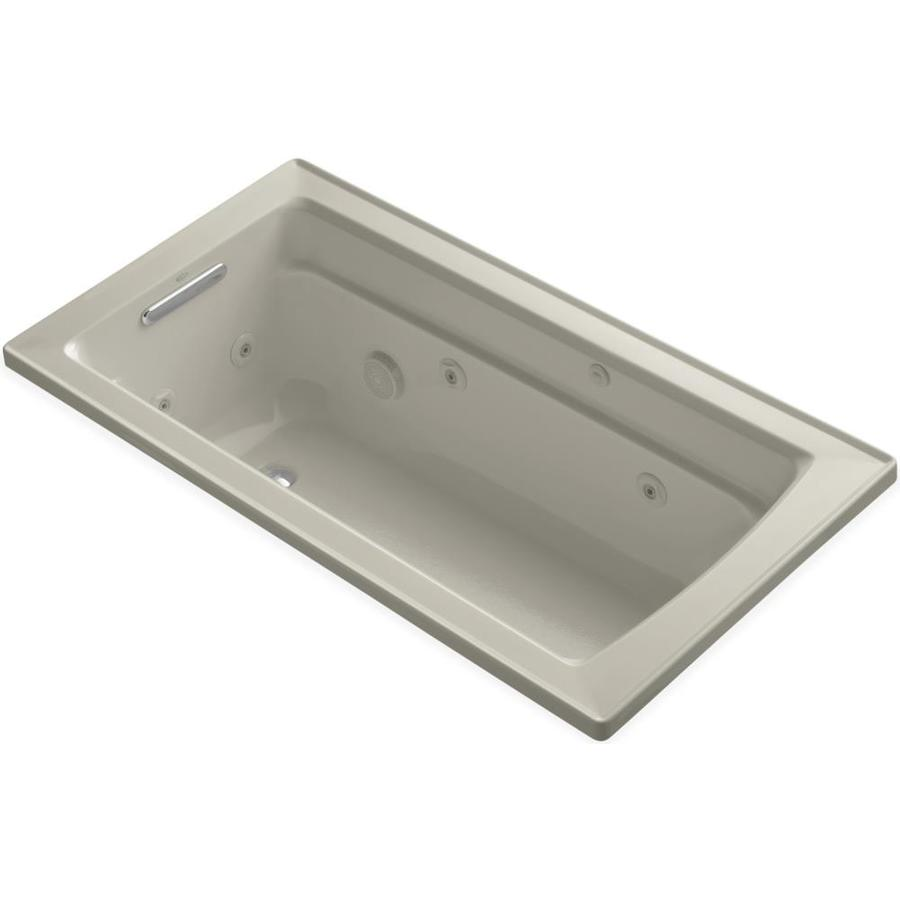 KOHLER Archer Sandbar Acrylic Rectangular Whirlpool Tub (Common: 32-in x 60-in; Actual: 19.0000-in x 32.0000-in x 60.0000-in)