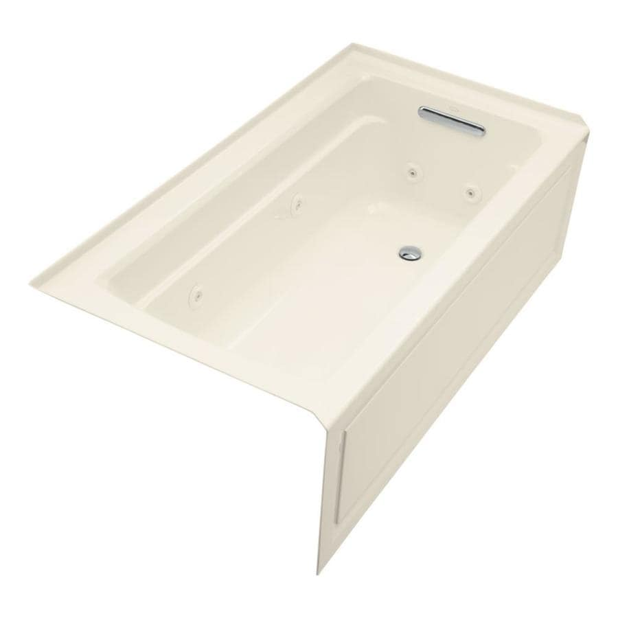 KOHLER Archer 60-in Almond Acrylic Skirted Whirlpool Tub with Right-Hand Drain