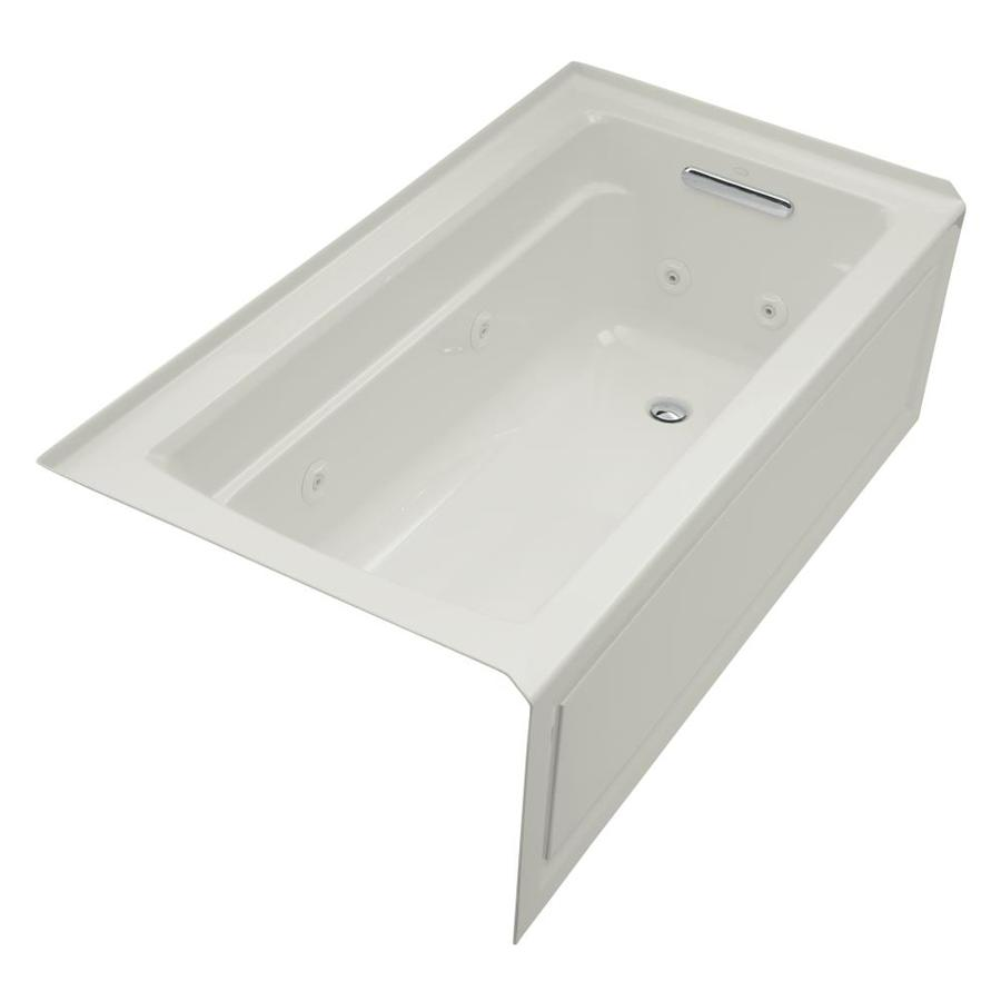 KOHLER Archer Ice Grey Acrylic Rectangular Whirlpool Tub (Common: 32-in x 60-in; Actual: 19-in x 32-in x 60-in)