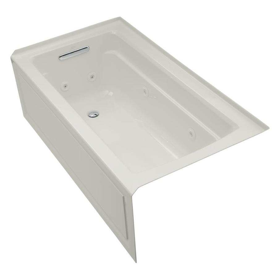 KOHLER Archer Ice Grey Acrylic Rectangular Whirlpool Tub (Common: 32-in x 60-in; Actual: 19-in x 32-in x 60-in)