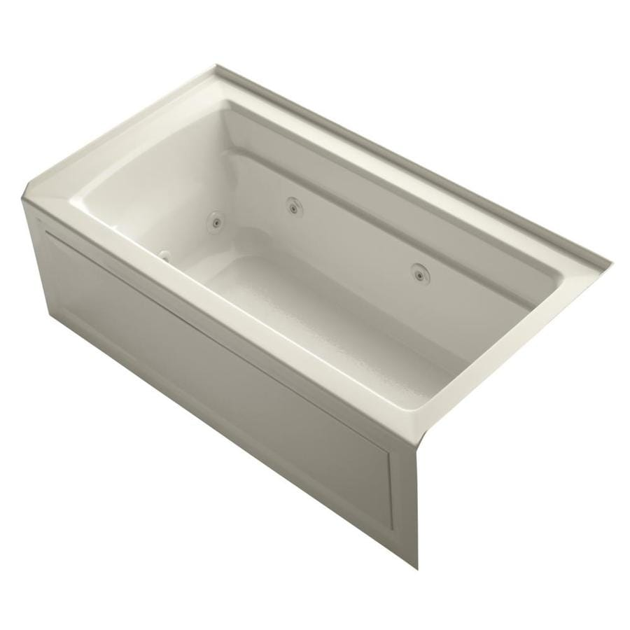 KOHLER Archer 60-in Almond Acrylic Alcove Whirlpool Tub with Right-Hand Drain
