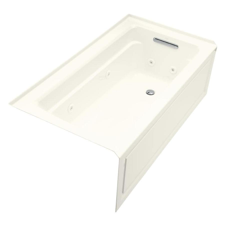 KOHLER Archer Biscuit Acrylic Rectangular Whirlpool Tub (Common: 32-in x 60-in; Actual: 19-in x 32-in x 60-in)