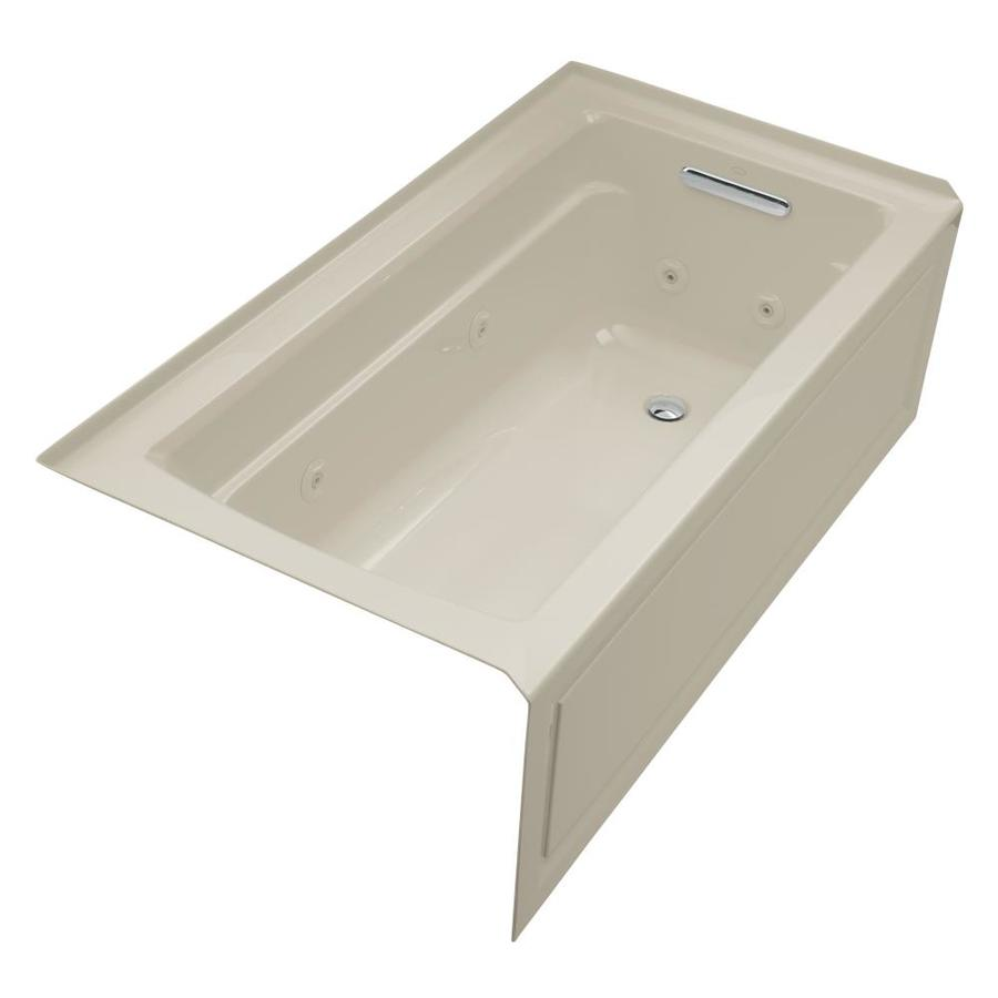 KOHLER Archer 60-in Sandbar Acrylic Alcove Whirlpool Tub with Right-Hand Drain