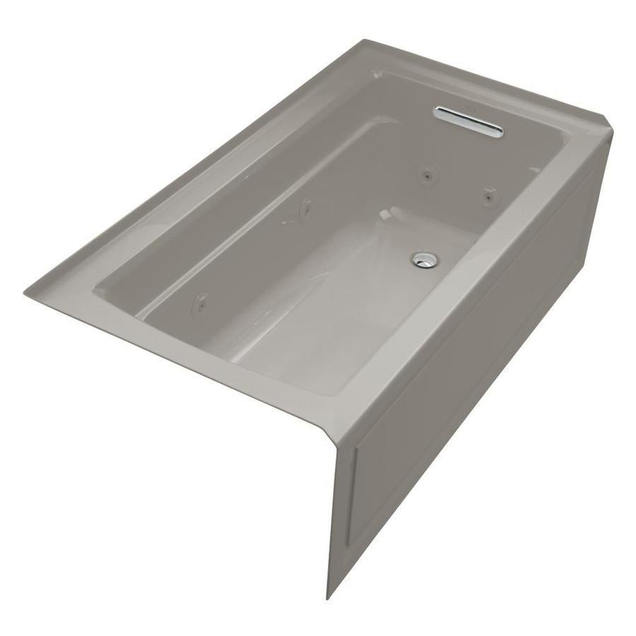 KOHLER Archer 60-in Cashmere Acrylic Alcove Whirlpool Tub with Right-Hand Drain