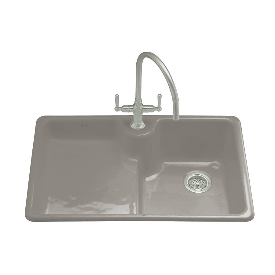 KOHLER Carrizo Double Basin Drop In Enameled Cast Iron Kitchen Sink