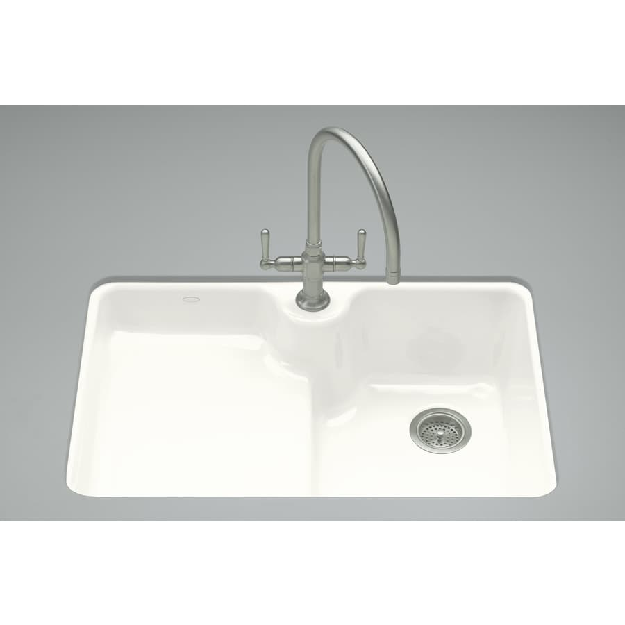 cast iron kitchen sinks undermount shop kohler carrizo 22 in x 33 in white single basin cast 8066