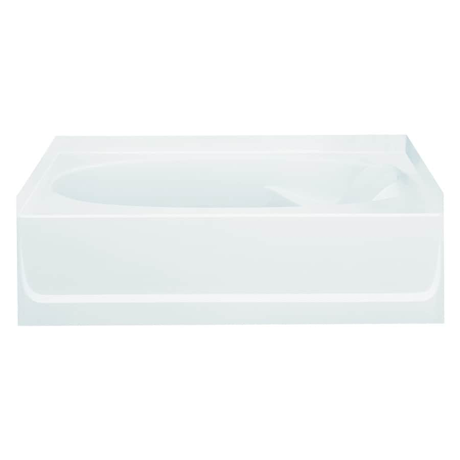 Sterling Ensemble White Fiberglass and Plastic Composite Oval In Rectangle Skirted Bathtub with Left-Hand Drain (Common: 36-in x 60-in; Actual: 20-in x 36-in x 60.25-in)