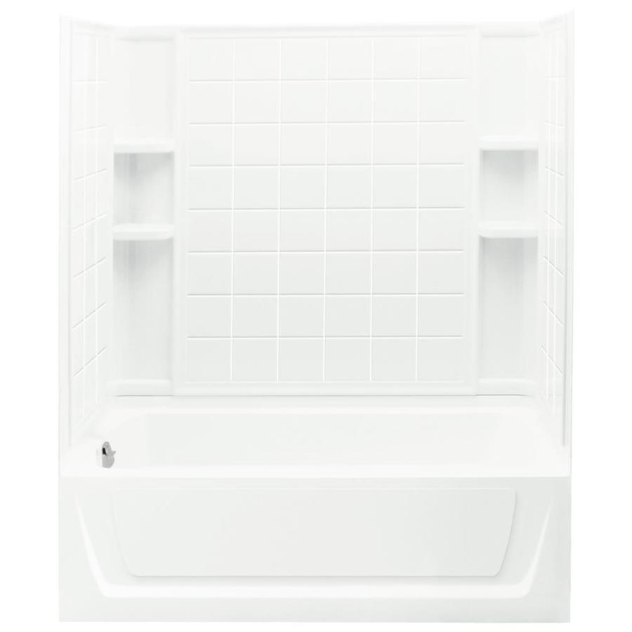 Sterling Ensemble White Wall Vikrell Floor 4-Piece Alcove Shower Kit (Common: 32-in x 60-in; Actual: 74-in x 32-in x 60-in)