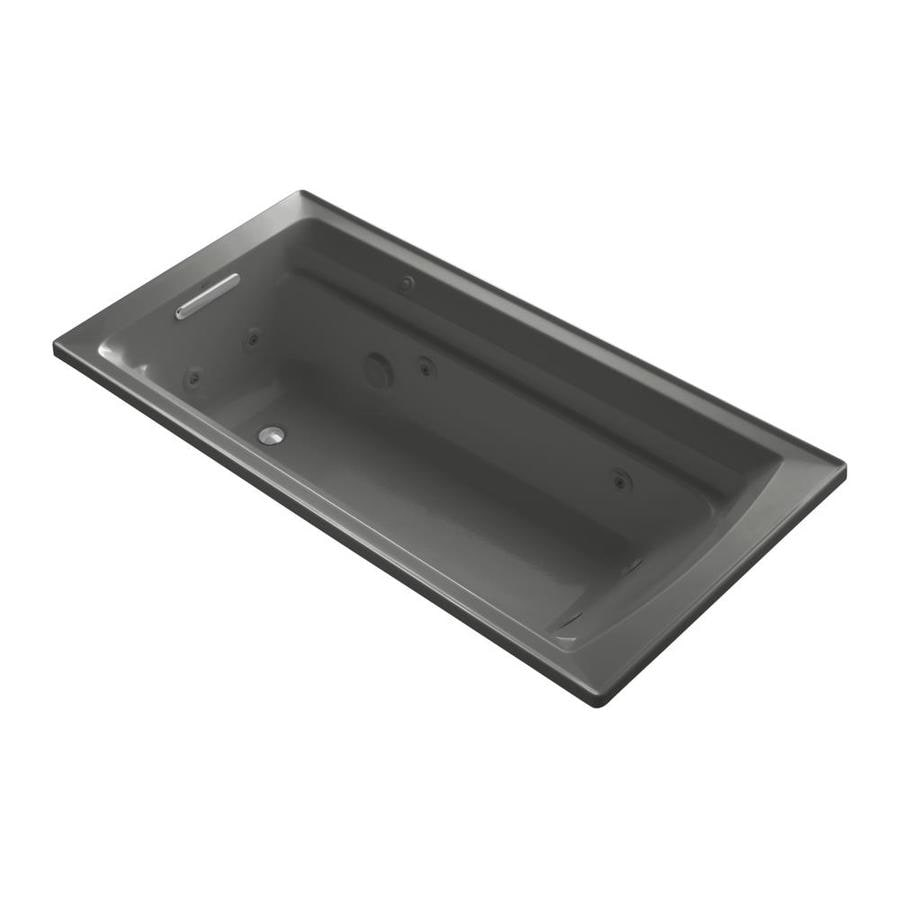 KOHLER Archer 72-in Thunder Grey Acrylic Drop-In Whirlpool Tub with Reversible Drain