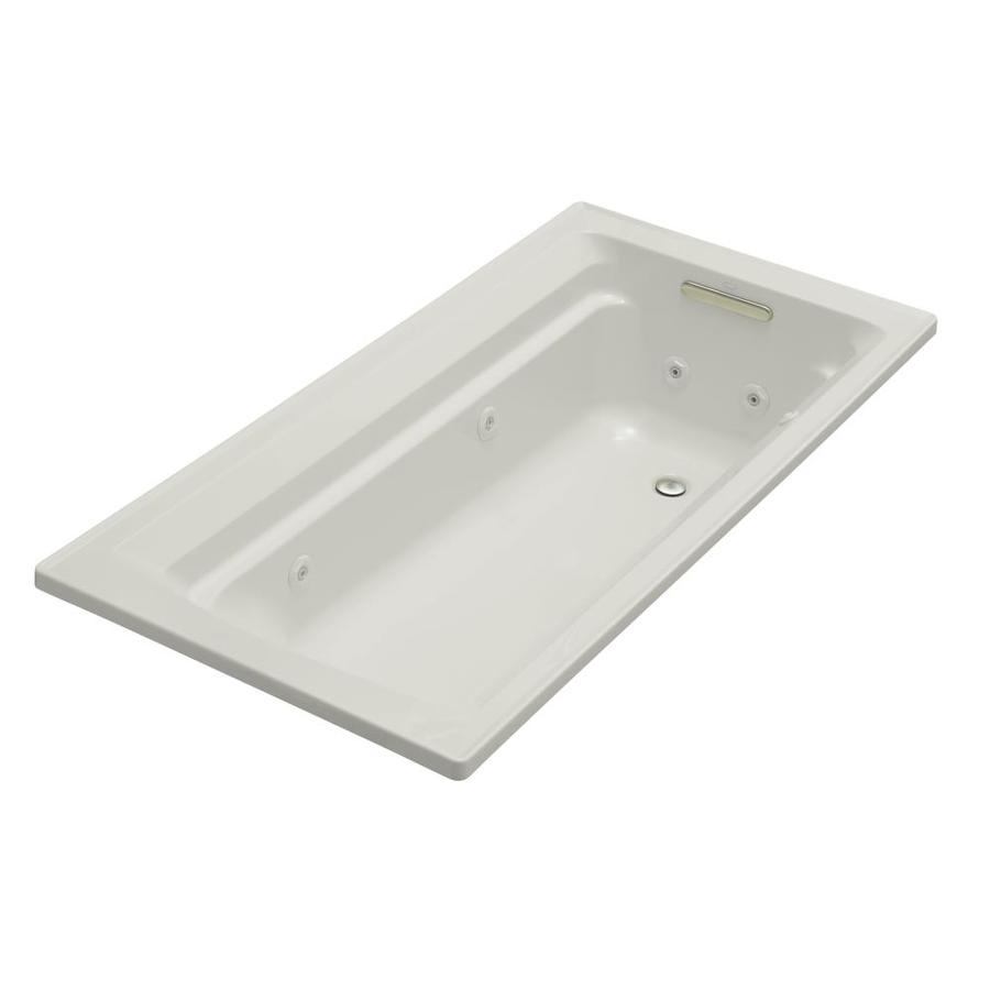 KOHLER Archer 72-in Ice Grey Acrylic Drop-In Whirlpool Tub with Reversible Drain