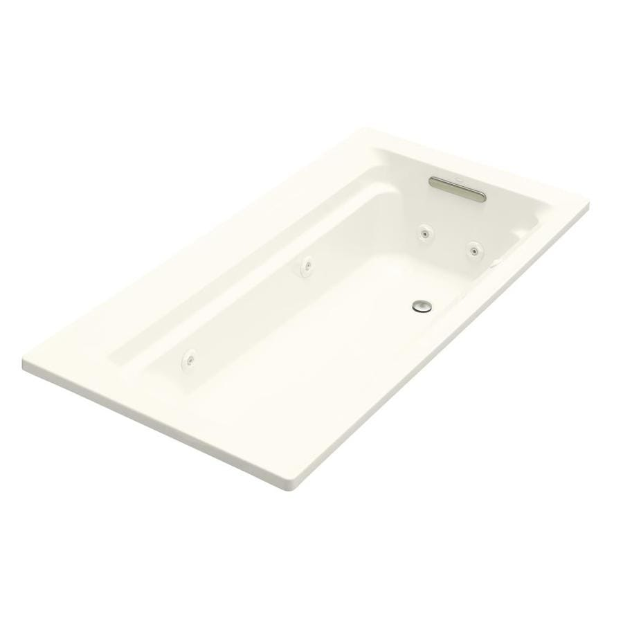 KOHLER Archer Biscuit Acrylic Rectangular Whirlpool Tub (Common: 36-in x 72-in; Actual: 19.0000-in x 36.0000-in x 72.0000-in)