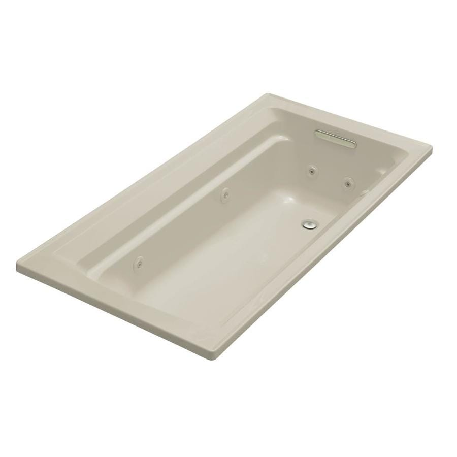 KOHLER Archer Sandbar Acrylic Rectangular Whirlpool Tub (Common: 36-in x 72-in; Actual: 19-in x 36-in x 72-in)