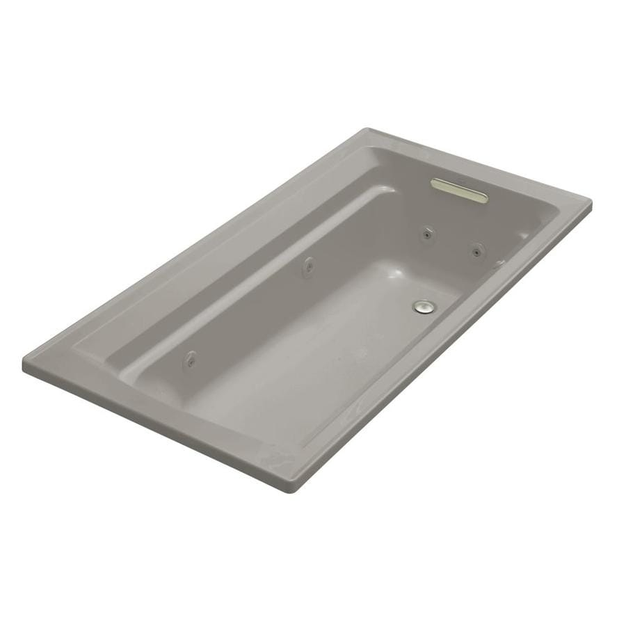 KOHLER Archer 72-in Cashmere Acrylic Drop-In Whirlpool Tub with Reversible Drain