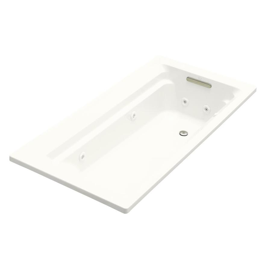 KOHLER Archer White Acrylic Rectangular Whirlpool Tub (Common: 36-in x 72-in; Actual: 19-in x 36-in x 72-in)