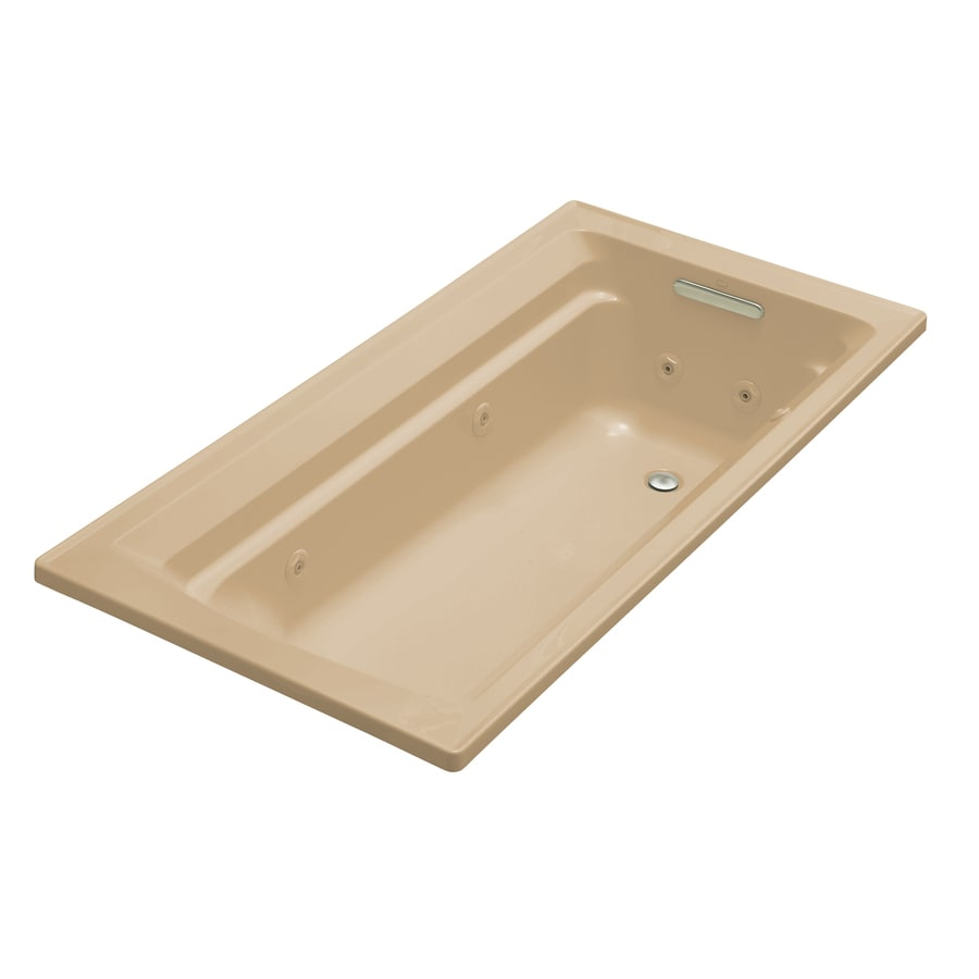 KOHLER Archer 72-in Mexican Sand Acrylic Drop-In Whirlpool Tub with Reversible Drain