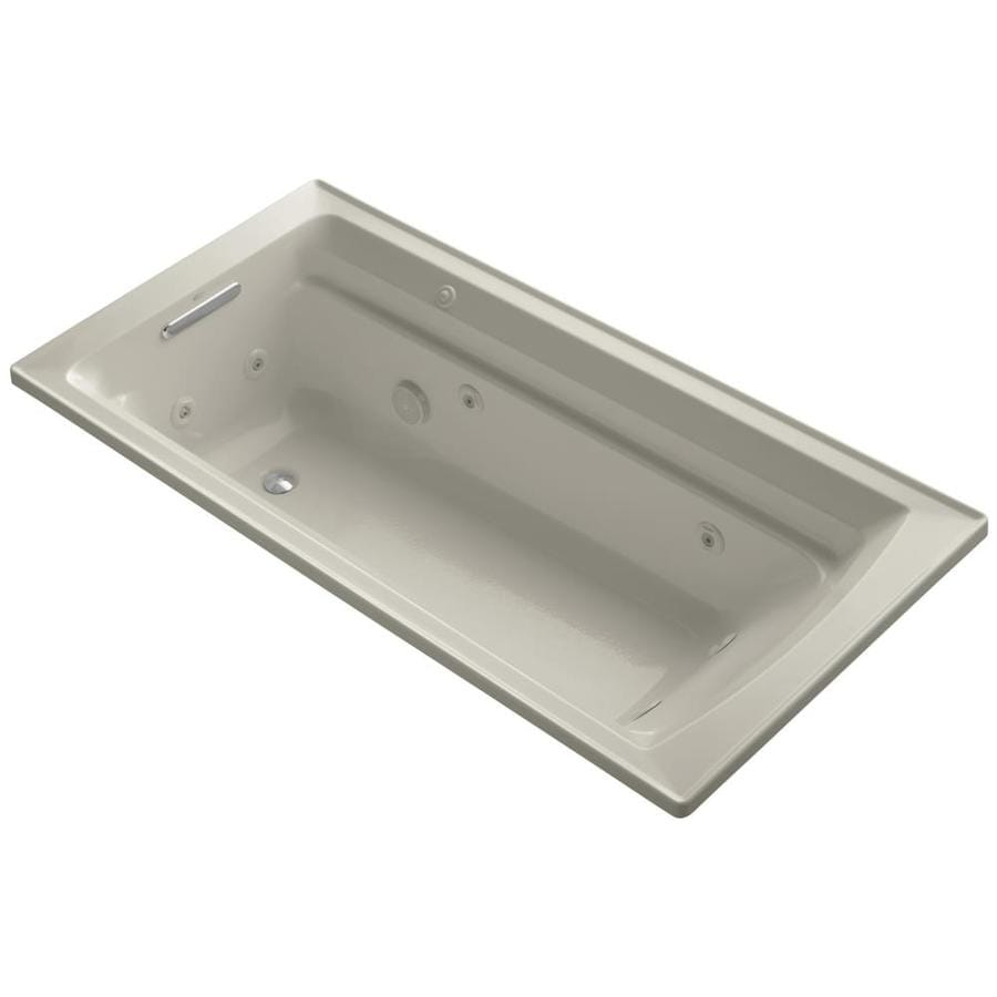 KOHLER Archer 72-in Sandbar Acrylic Drop-In Whirlpool Tub with Reversible Drain