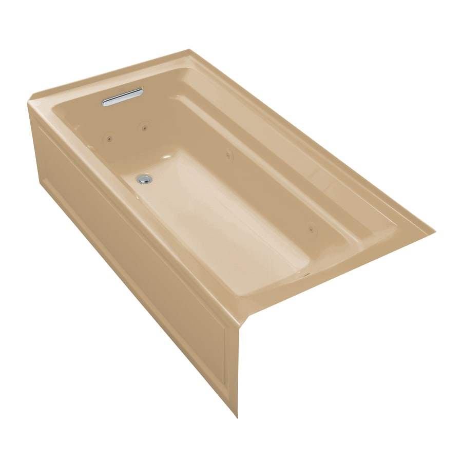 KOHLER Archer Mexican Sand Acrylic Rectangular Whirlpool Tub (Common: 36-in x 72-in; Actual: 19-in x 36-in x 72-in)