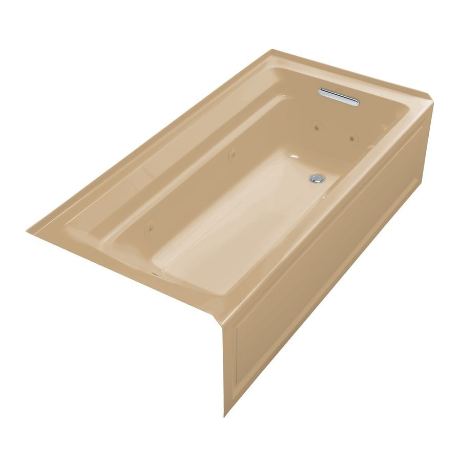 KOHLER Archer 72-in Mexican Sand Acrylic Alcove Whirlpool Tub with Right-Hand Drain