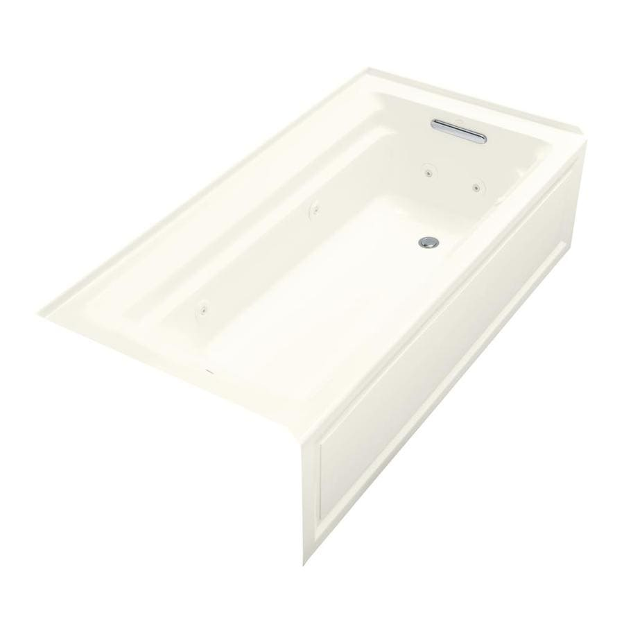 KOHLER Archer 72-in Biscuit Acrylic Alcove Whirlpool Tub with Right-Hand Drain
