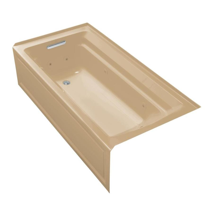 KOHLER Archer 72-in Mexican Sand Acrylic Alcove Whirlpool Tub with Left-Hand Drain