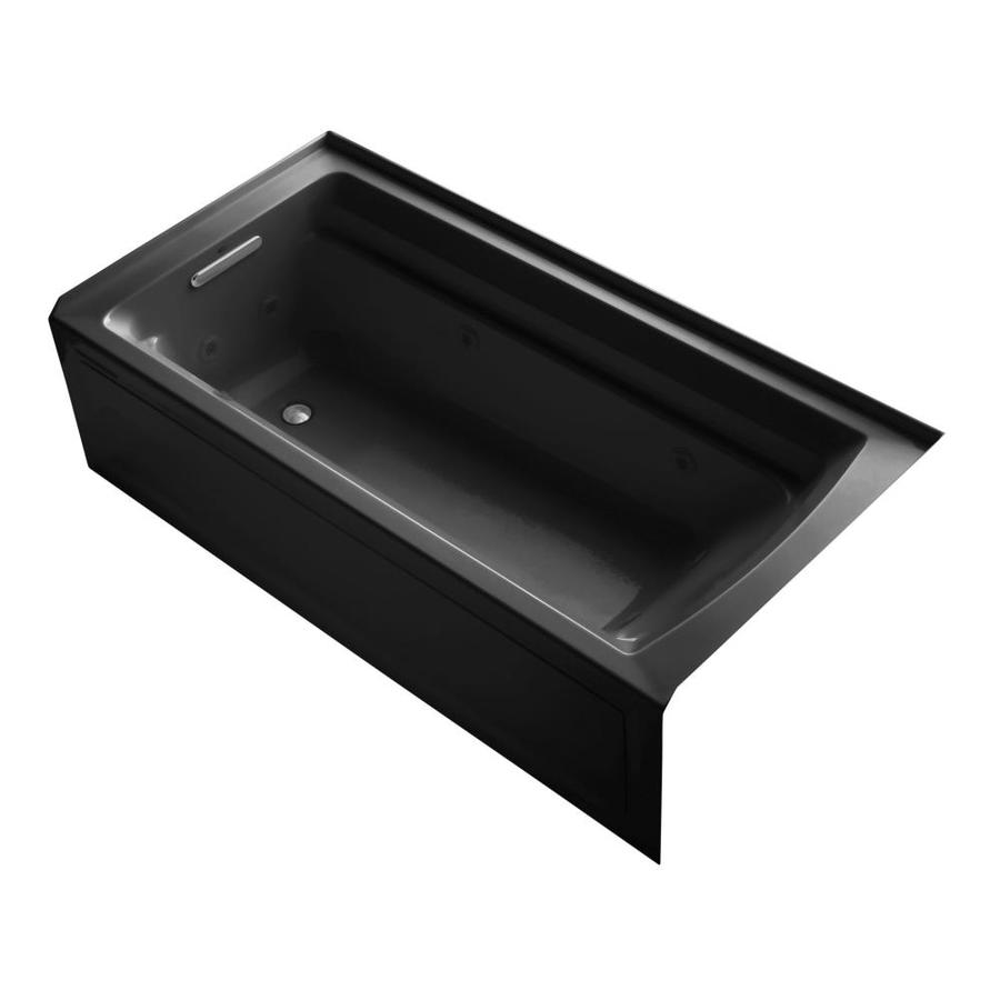 KOHLER Archer Black Acrylic Rectangular Alcove Whirlpool Tub (Common: 36-in x 72-in; Actual: 19-in x 36-in)