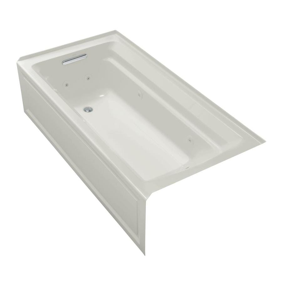 KOHLER Archer 72-in Ice Grey Acrylic Alcove Whirlpool Tub with Left-Hand Drain