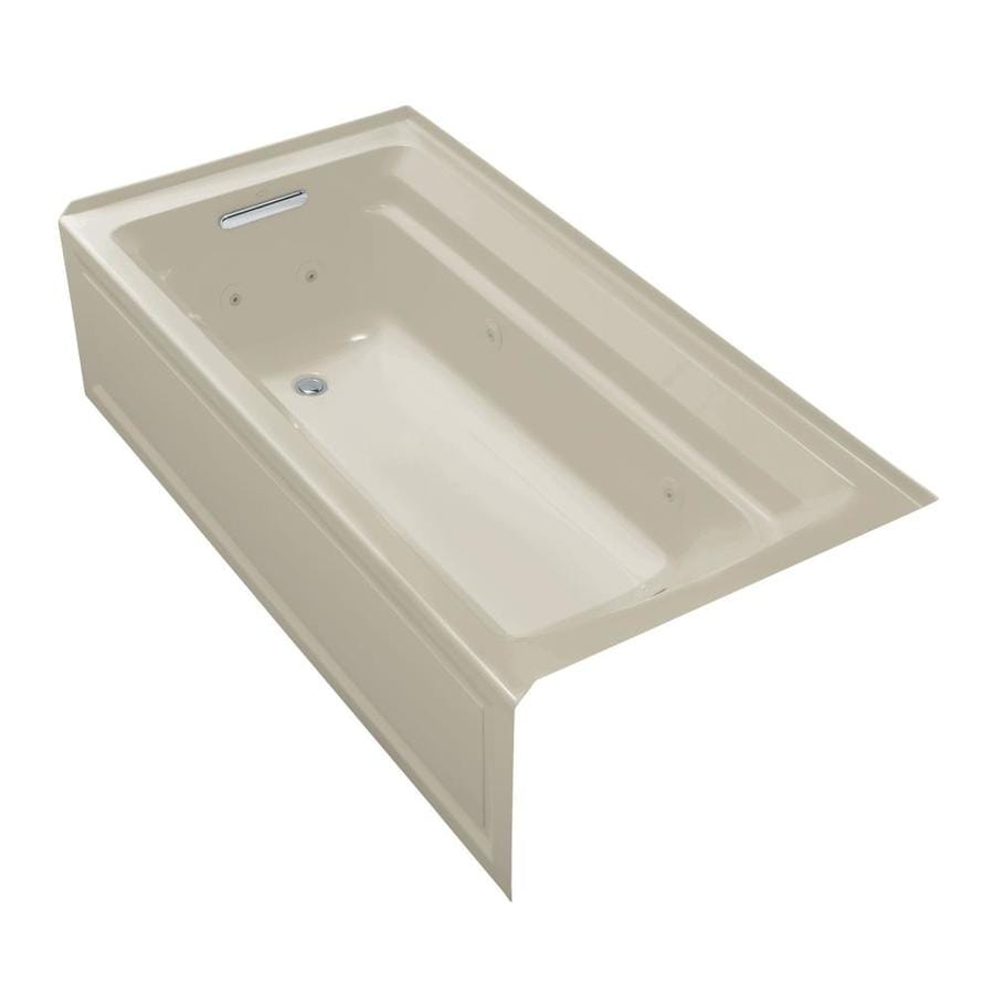 KOHLER Archer 72-in Sandbar Acrylic Alcove Whirlpool Tub with Left-Hand Drain
